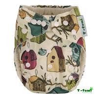 Obrázek Bambusová kalhotková plena AIO + 2 bambusové vkládací pleny, ptačí budka