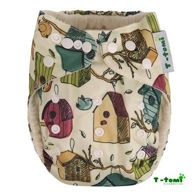 Obrázek z Bambusová kalhotková plena AIO + 2 bambusové vkládací pleny, ptačí budka