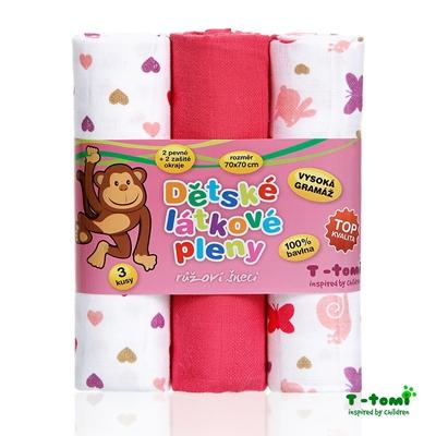Obrázek z Látkové TETRA pleny, růžoví šneci - TOP KVALITA