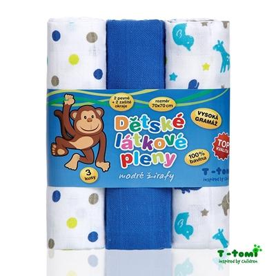 Obrázek z Látkové TETRA pleny, modré žirafy - TOP KVALITA