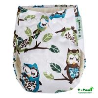 Obrázek Bambusová kalhotková plena AIO + 2 bambusové vkládací pleny, bílá sova