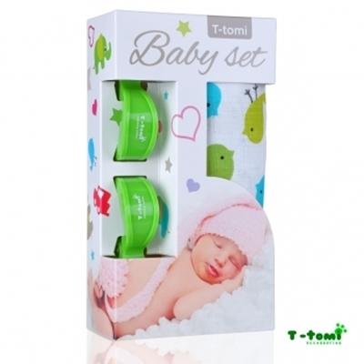 Obrázek z Baby set - bambusová osuška ptáčci + kočárkový kolíček zelený