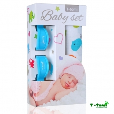 Obrázek z Baby set - bambusová osuška ptáčci + kočárkový kolíček modrý