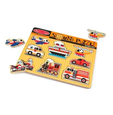 Obrázek z Melissa & Doug Dřevěné puzzle se zvukem dopravní prostředky