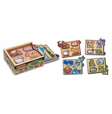 Obrázek z Melissa & Doug Dřevěné mini puzzle v krabičce zvířátka