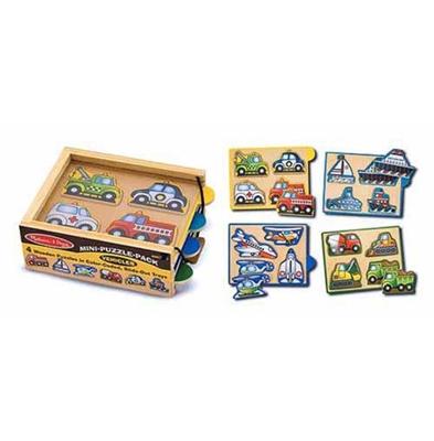 Obrázek z Melissa & Doug Dřevěné mini puzzle v krabičce dopravní prostředky