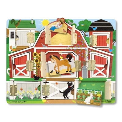 Obrázek z Melissa & Doug Dřevěné puzzle - stodola s okénky