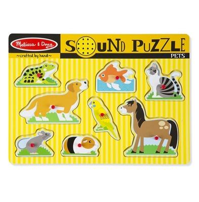 Obrázek z Dřevěné puzzle se zvuky domácí zvířátka Melissa & Doug